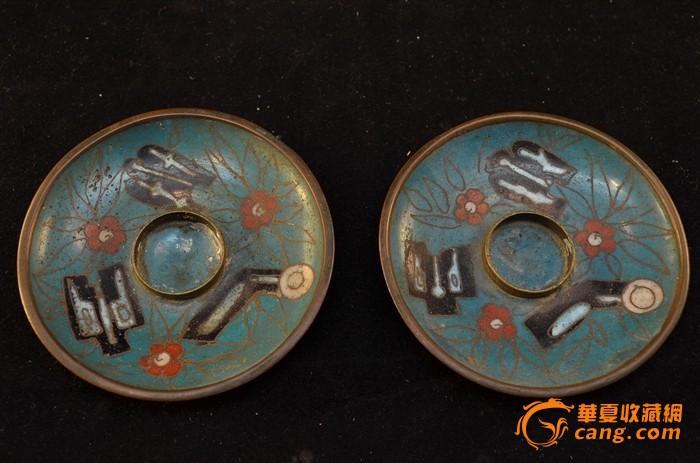 清代铜胎掐丝珐琅小烛盘一对-图1