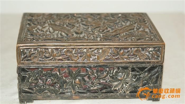 5425 铜镂雕内嵌红木四方盒-图1