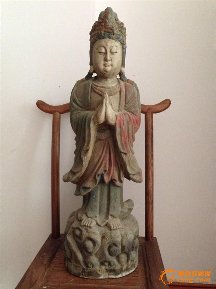 清末民初,彩绘木雕大观音尊像-图1