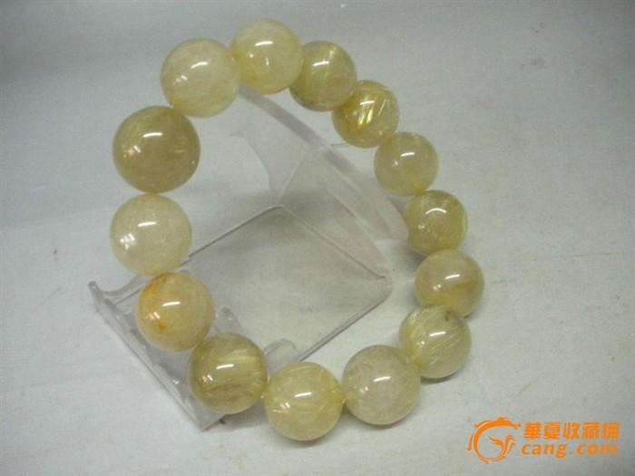 民间收的稀少难得 清代老金发晶 水晶手链宝珠