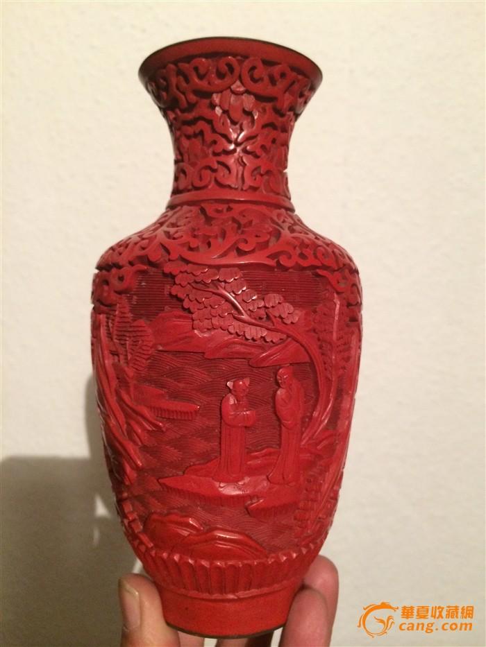 0103 剔红人物赏瓶-图1