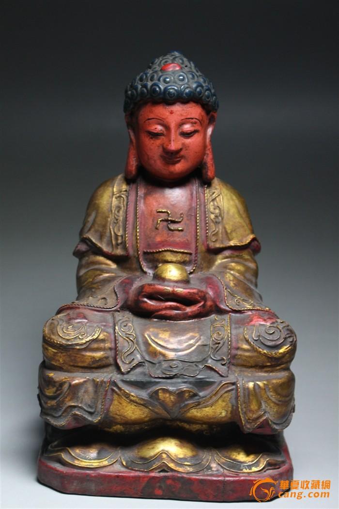 """民国漆线木雕精品""""佛祖""""造像-图1"""