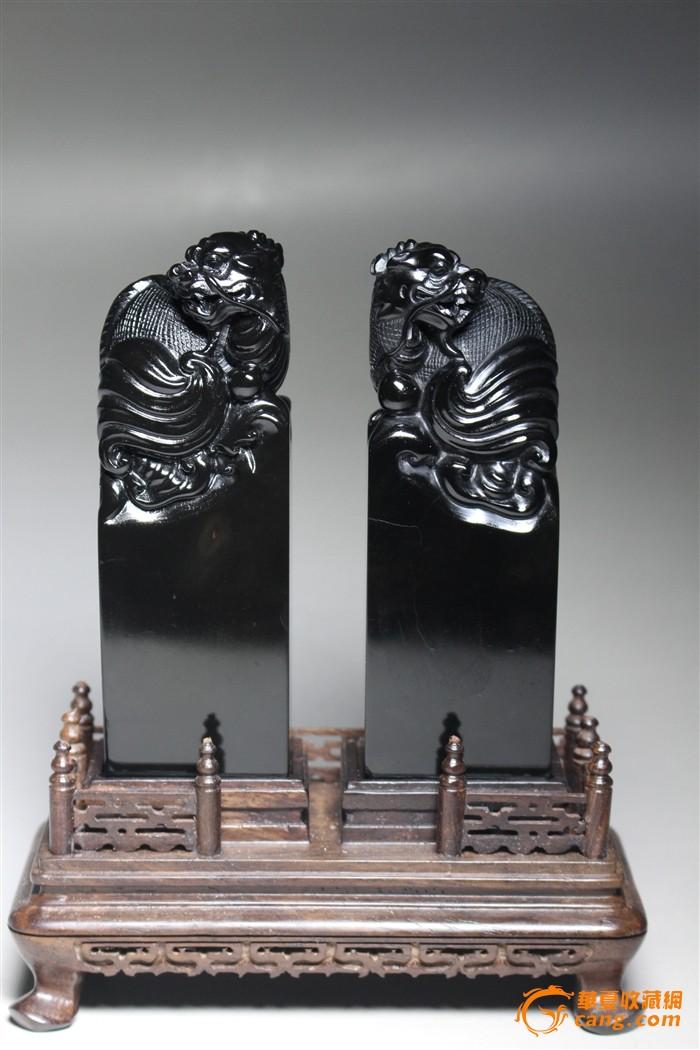 """收藏级寿山豆耿石雕精品""""龟龙钮""""对章-图1"""