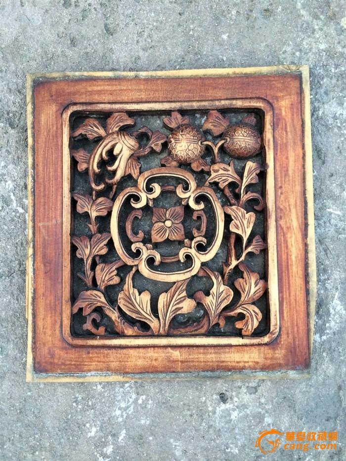 一套漂亮的镂空老木雕花板