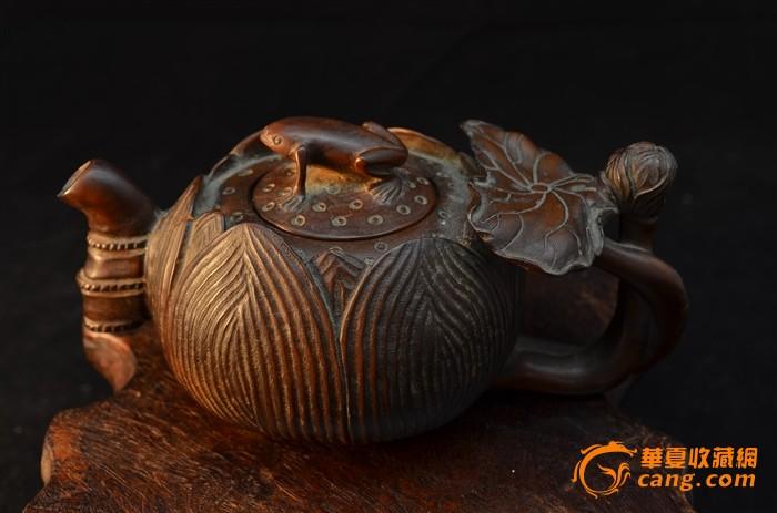 清 黄杨木雕茶壶-青蛙莲心荷叶壶