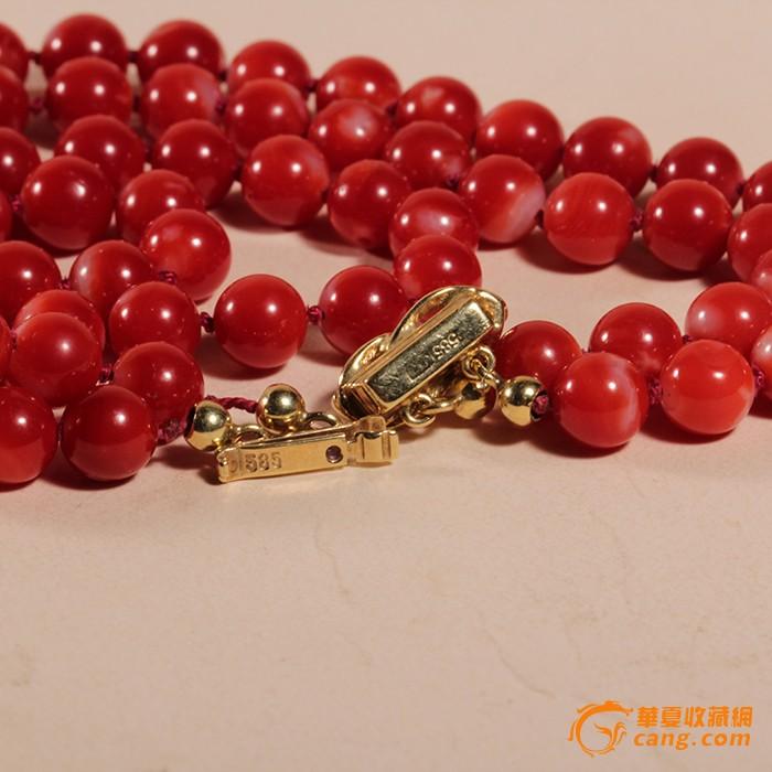 天然红珊瑚阿卡圆珠项链 14k 金扣 欧洲回流