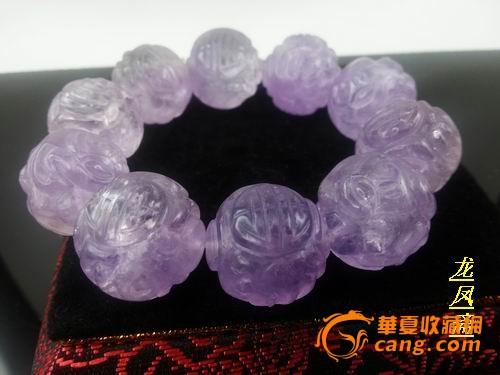 龙凤斋【精品】老寿字纹紫水晶---手串