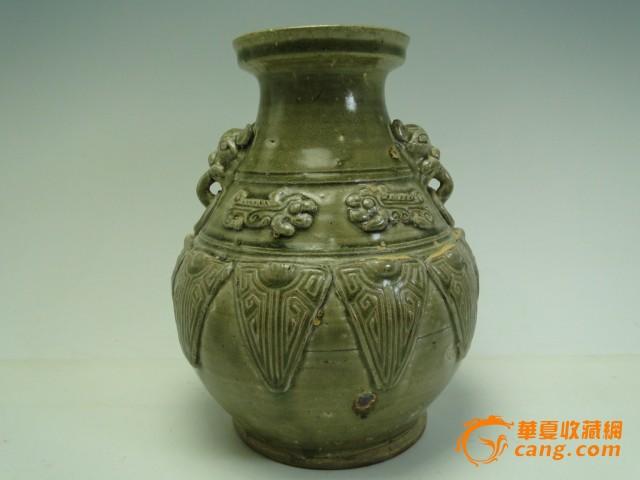 手绘摆件花瓶子唐朝绿釉罐子