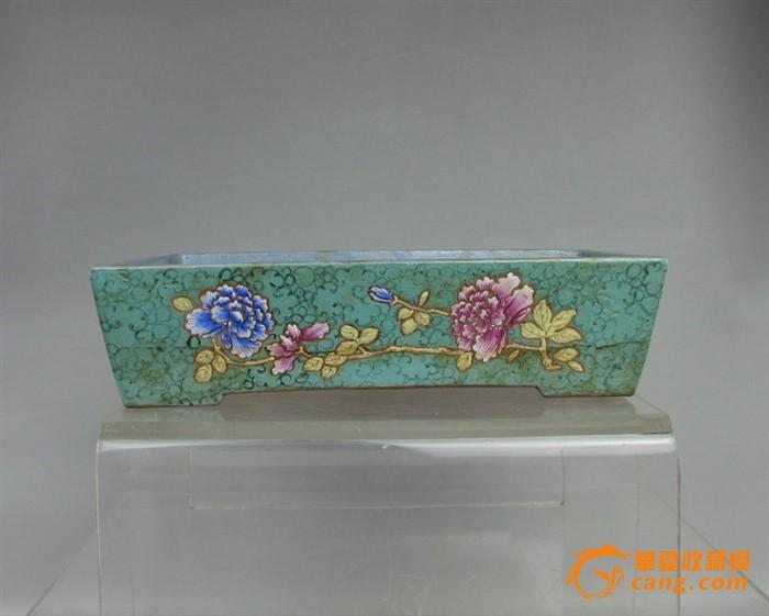 清代   紫砂带彩牡丹水仙盘『聚古斋』图6