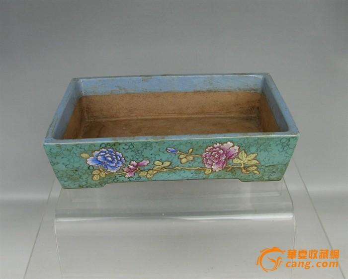 清代   紫砂带彩牡丹水仙盘『聚古斋』图2
