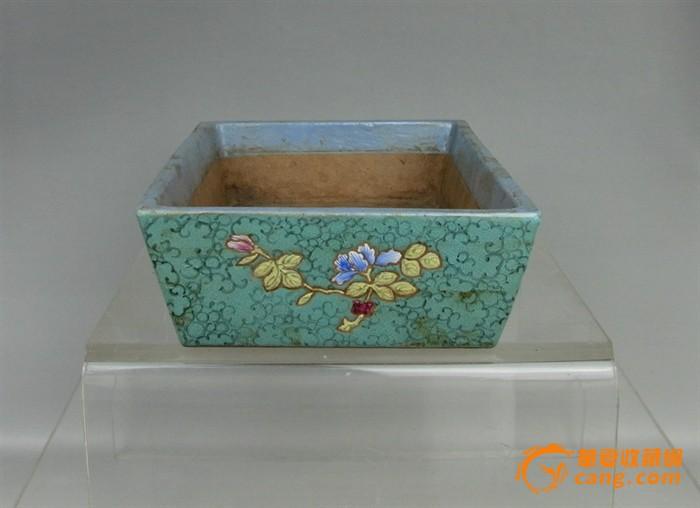 清代   紫砂带彩牡丹水仙盘『聚古斋』图3