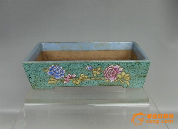 清代   紫砂带彩牡丹水仙盘『聚古斋』图12