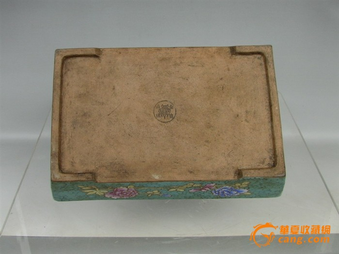清代   紫砂带彩牡丹水仙盘『聚古斋』图9