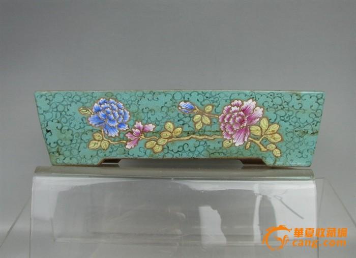 清代   紫砂带彩牡丹水仙盘『聚古斋』图1