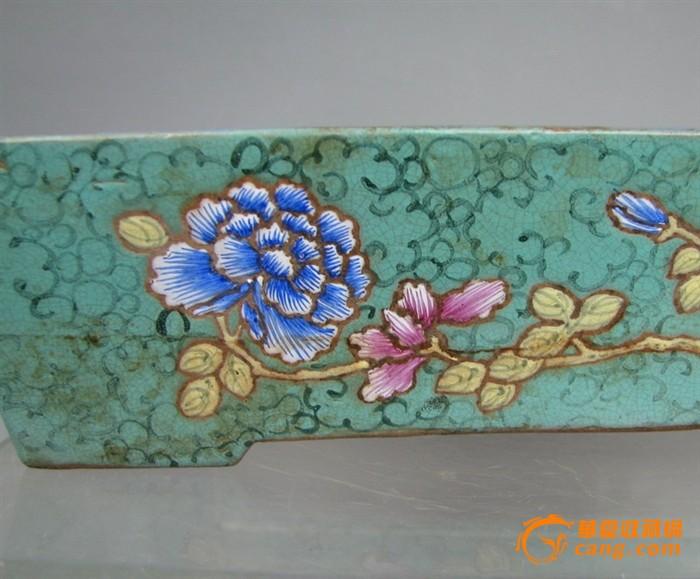 清代   紫砂带彩牡丹水仙盘『聚古斋』图7