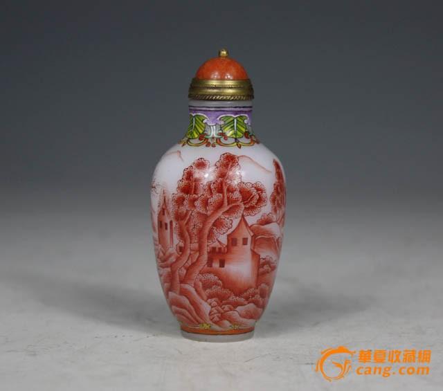 清代 白地矾红山水人物鼻烟壶【友尚收藏】-图3