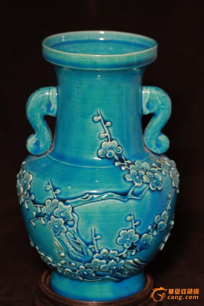 【民国】孔雀蓝釉象雕花耳瓶