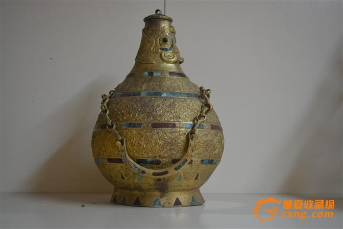 铜鎏金镶嵌提梁壶-图2