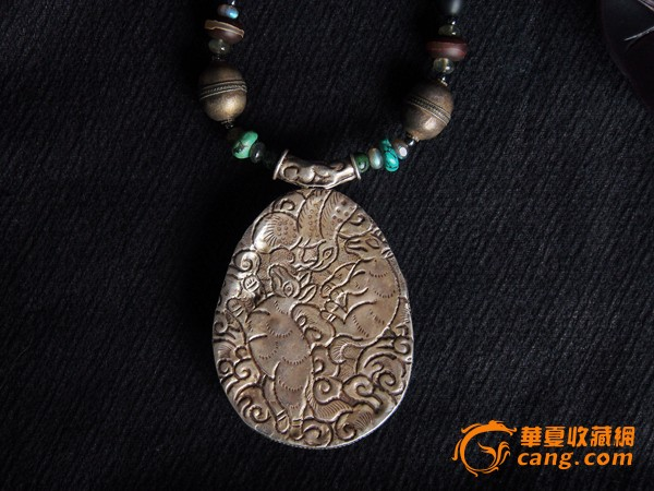 阿富汗古董吊坠 纯银镶嵌绿松石吊坠 老银大吊坠