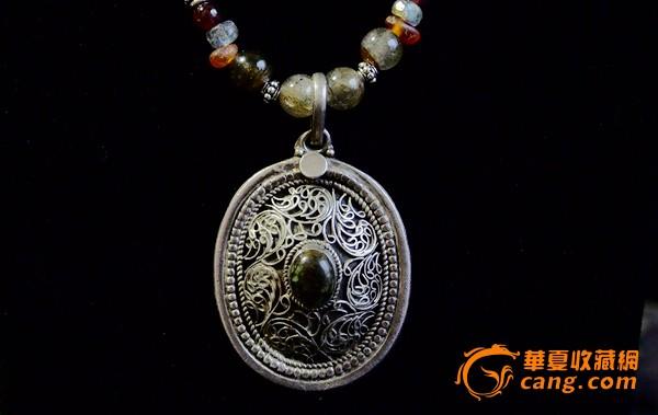 回流项链 阿富汗纯银镶嵌绿松石吊坠 项链 回流首饰