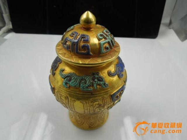 清乾隆时期青金石绿松石镶嵌金将军罐一个-图1