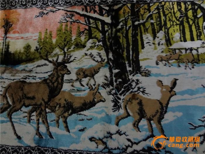 民国风景挂毯古董装饰收藏