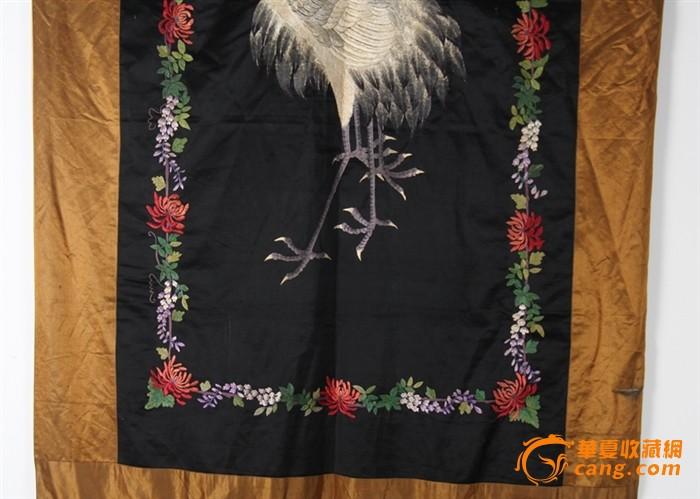 清代 刺绣双白鹤挂帘