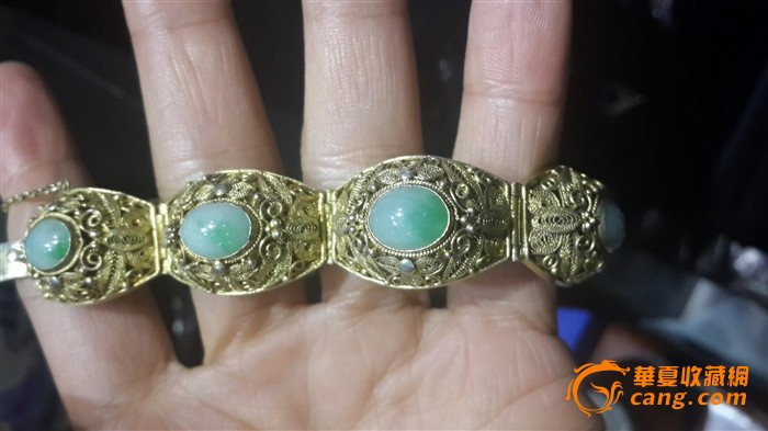 银鎏金花丝工艺镶嵌天然翡翠手链