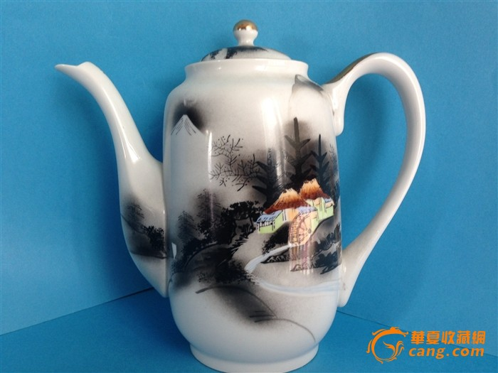 凑光作日本手绘描金茶壶