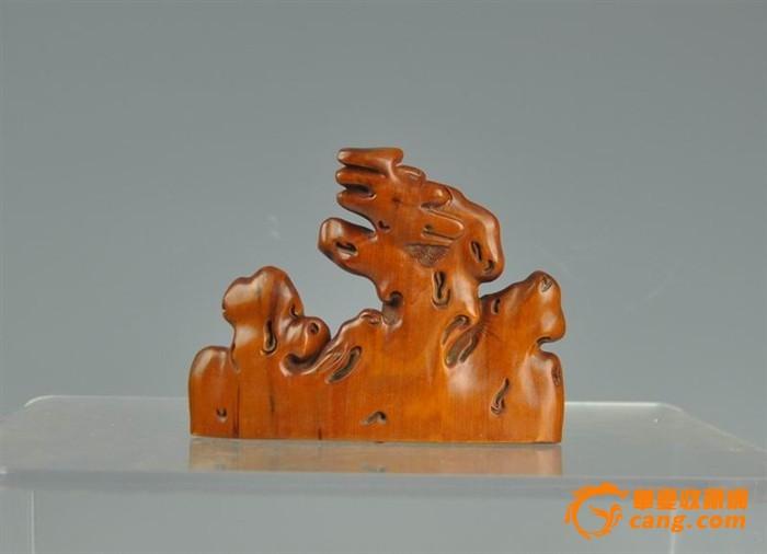 清代黄杨木雕山水人物摆件图2