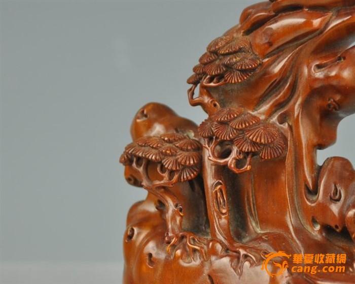 清代黄杨木雕山水人物摆件图5