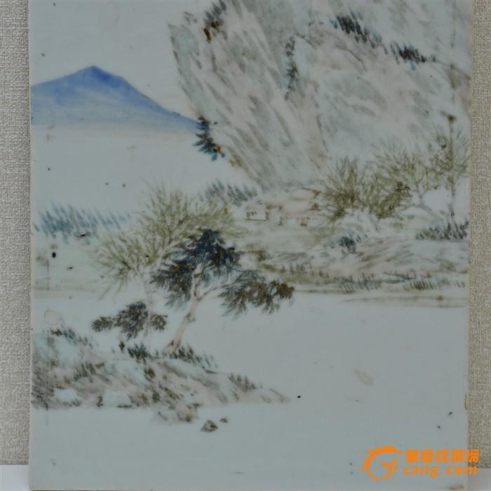 光绪早期浅绛名家胡经生山水瓷板插屏图4
