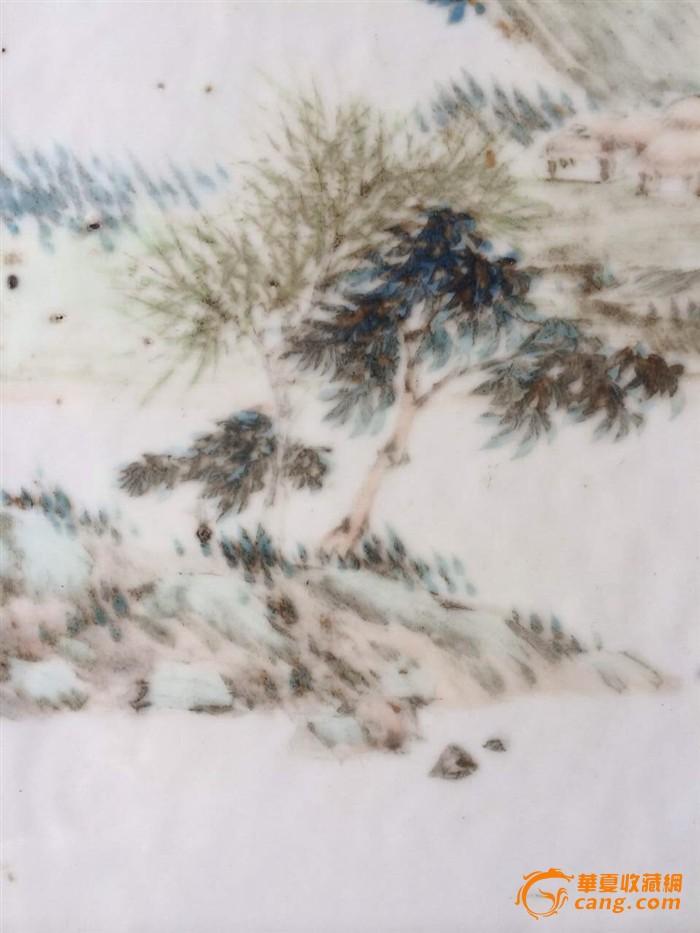 光绪早期浅绛名家胡经生山水瓷板插屏图8
