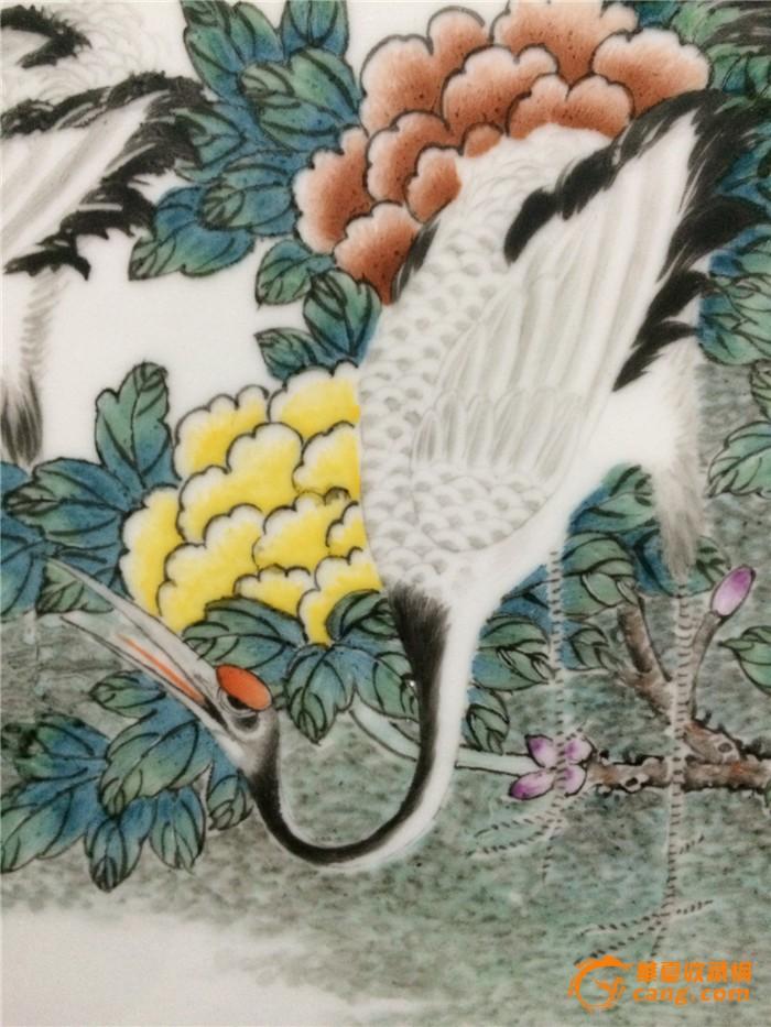 全手绘六鹤同春瓷板