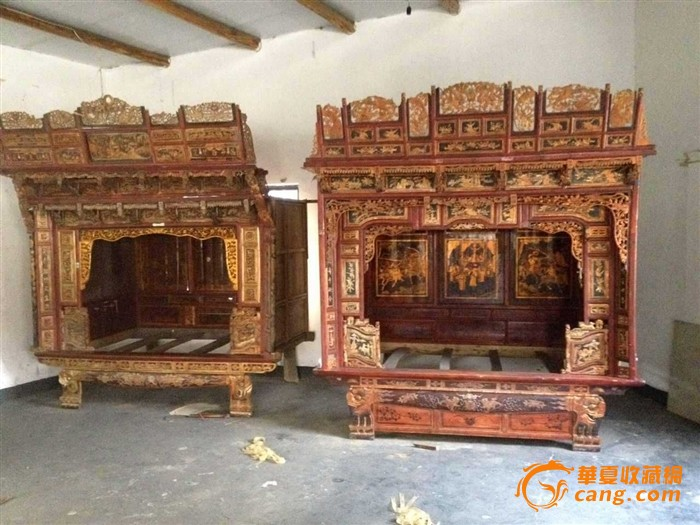古董收藏 明清民国时期官家木雕老床 货真价实