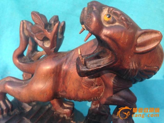 清代木雕老虎摆件 罕见漂亮