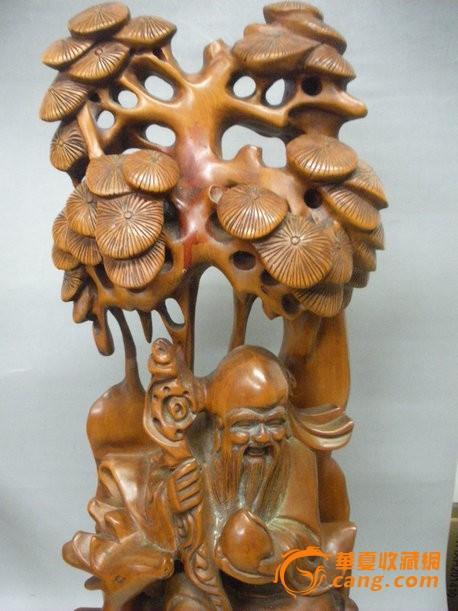 木艺木雕 民国老黄杨木 巧雕 福禄寿 大摆件