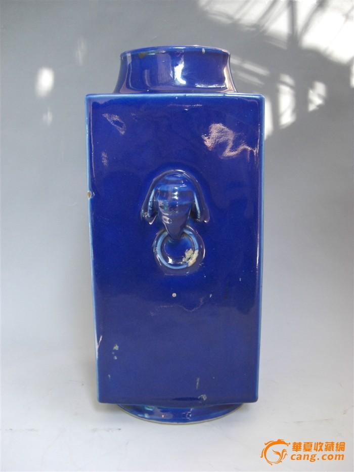 清 光绪 霁蓝釉琮式瓶图7