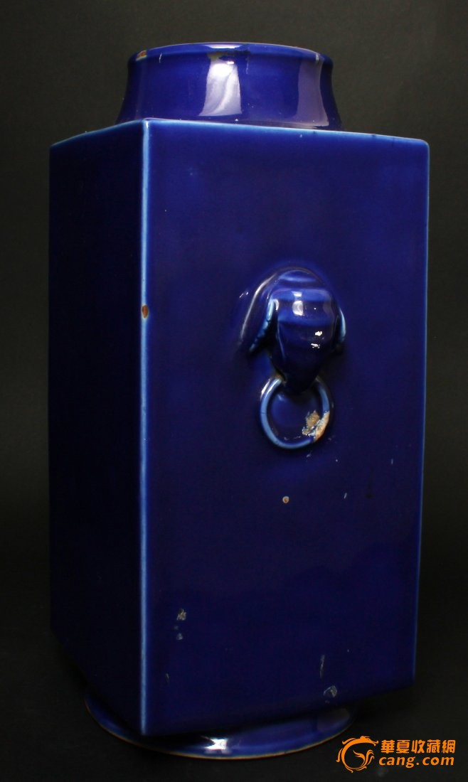 清 光绪 霁蓝釉琮式瓶图3