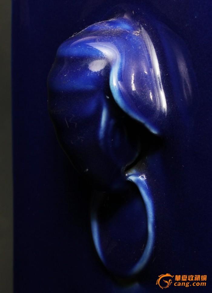 清 光绪 霁蓝釉琮式瓶图12