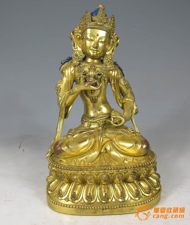 清代 铜鎏金金刚萨埵坐像图1