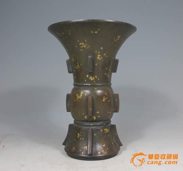 清早期 黄铜洒金花觚图4