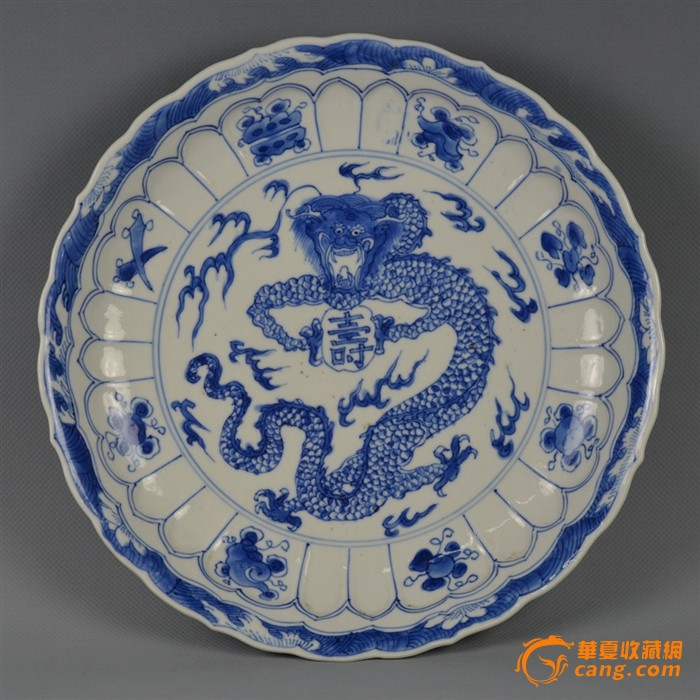 康熙青花正面龙捧寿葵口盘图2