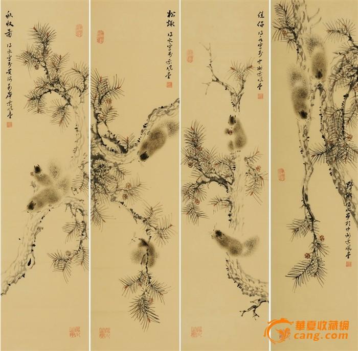 名家连俊洲风格花鸟国画松鼠松树