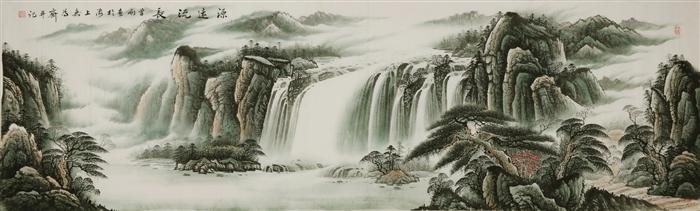 名家曾刚风格国画彩墨山水画字画手绘小丈二