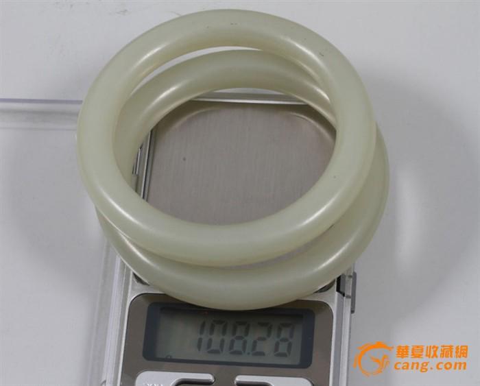 清代 和田 青白玉 精品 手镯 一对,108.28克。图8