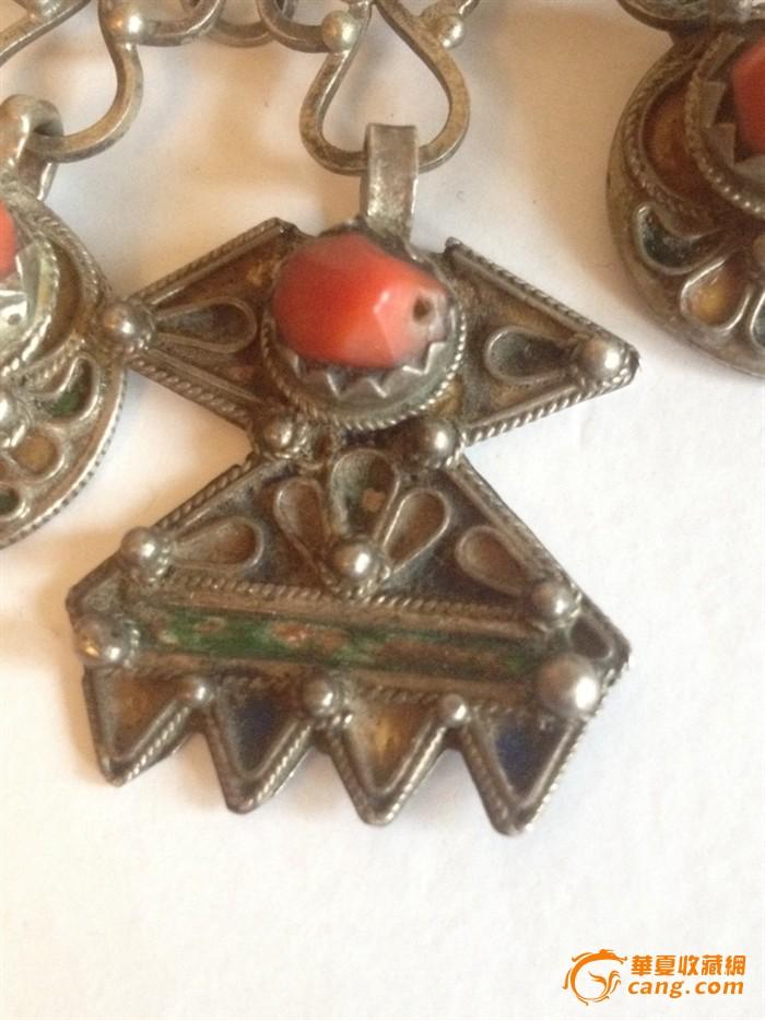 100255 古董银嵌红珊瑚项链图3