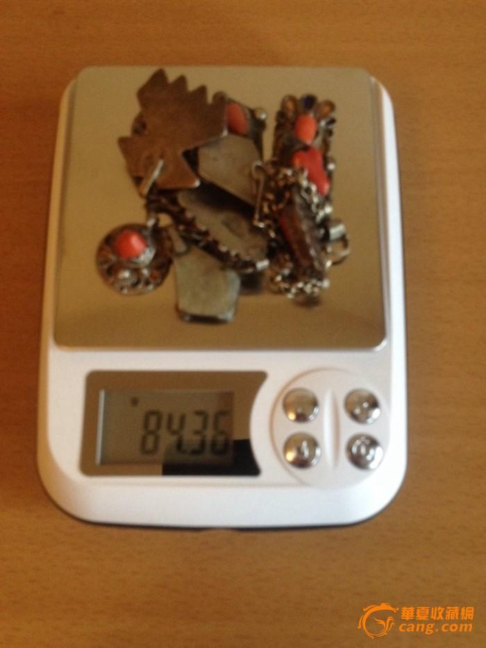 100255 古董银嵌红珊瑚项链图8
