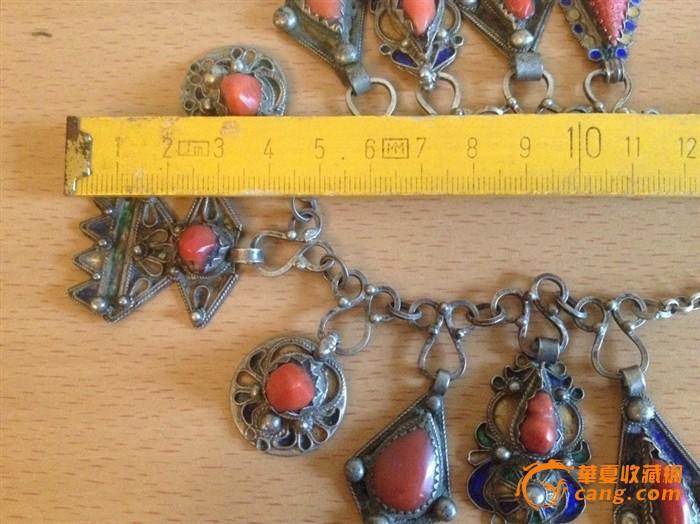 100255 古董银嵌红珊瑚项链图10