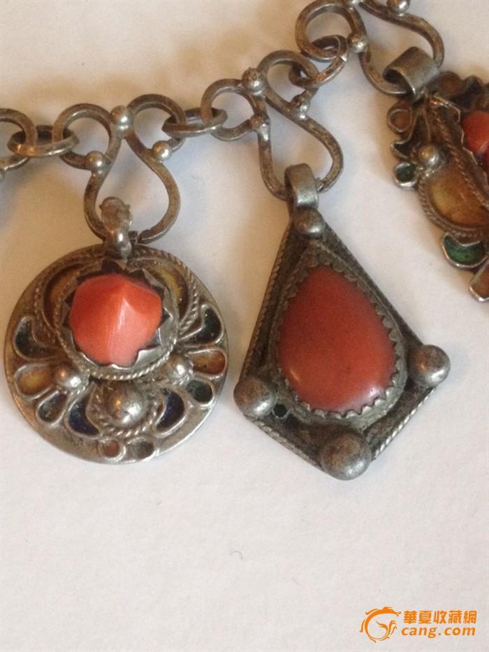 100255 古董银嵌红珊瑚项链图11
